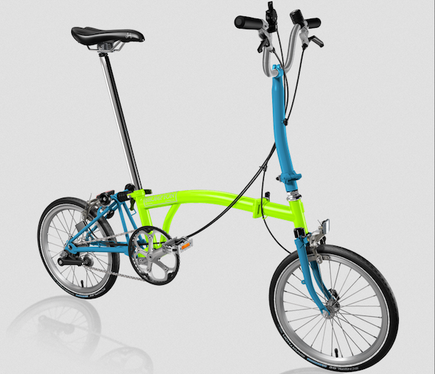 a winning Brompton in Lime and Lagoon