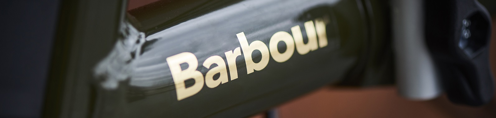 Barbour logo on bike frame