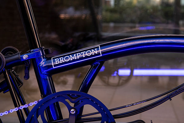 Brompton 2020 New Colours - Bolt Blue Lacquer exclusive to Brompton Electric